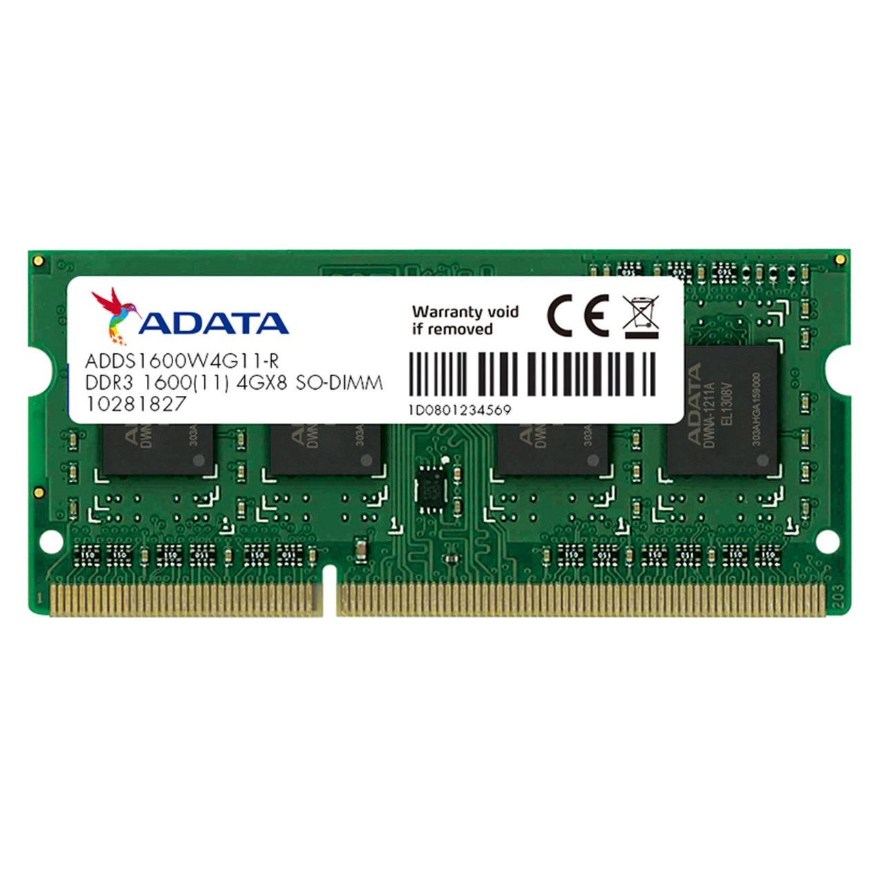 Memoria Ram Ddr3 4Gb Sodimm 1600Mhz Adata 1.35v
