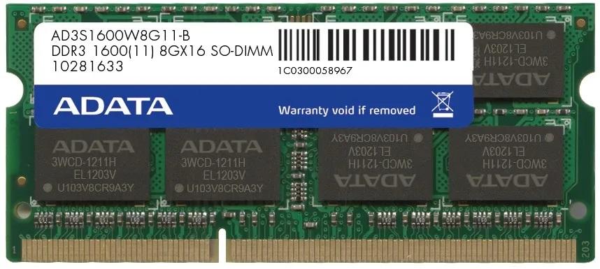 Memoria Ram Notebook Ddr3 8Gb 1600Mhz Adata 1.35v
