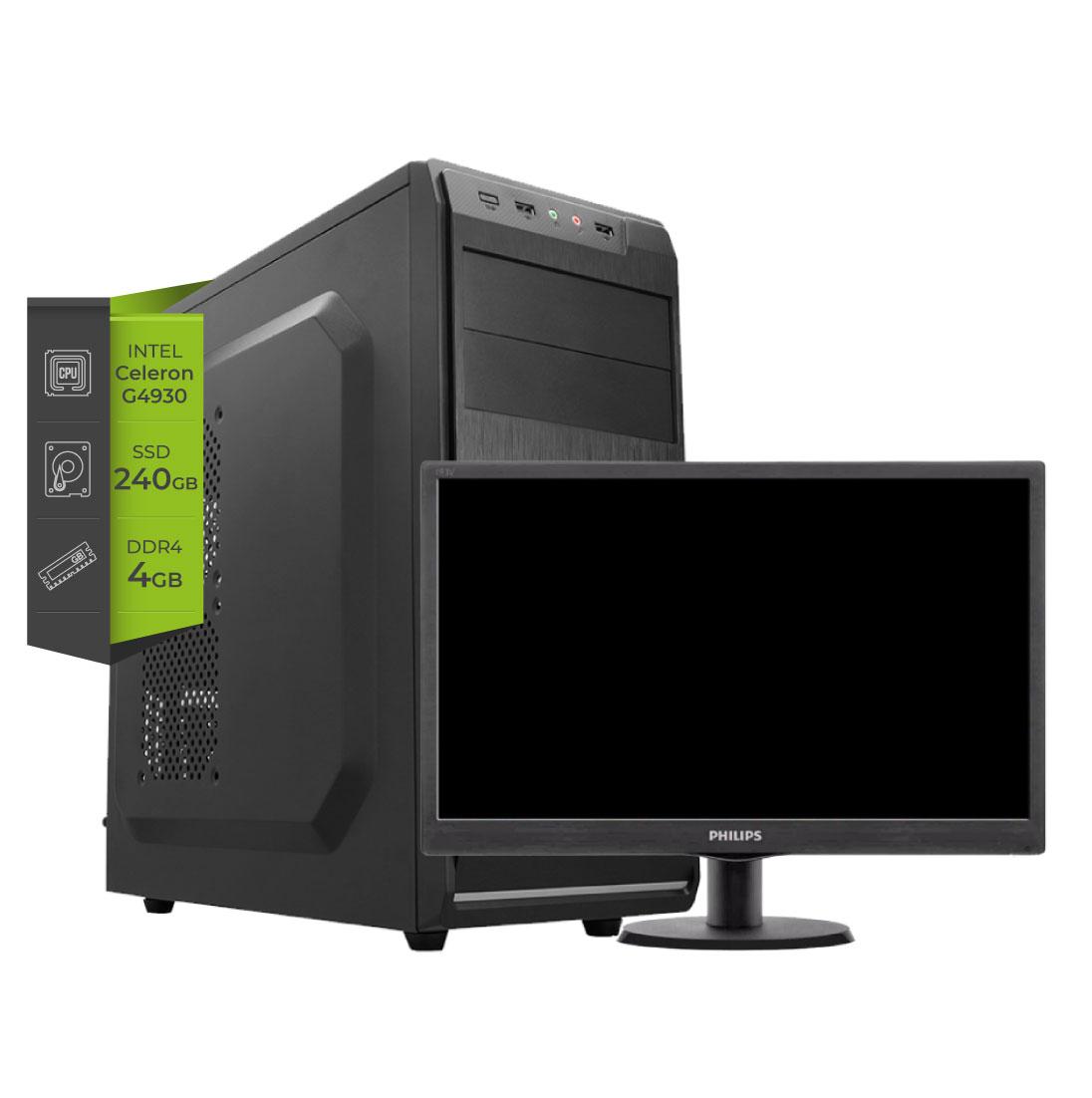 PC Intel Celeron G4930 SSD 240gb 4Gb DDR4 + Monitor Led 19