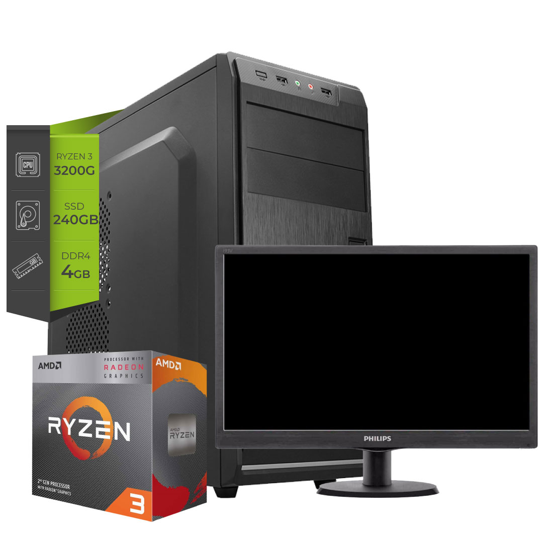Pc AMD Gamer ZEN Dust Ryzen 3 3200G ssd 240 + Monitor 19 Led