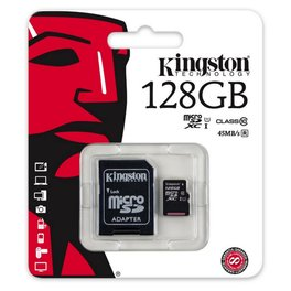 Memoria Micro SD Kingston 128Gb SDXC Clase 10 UHS-I 45Mb / 10Mb